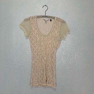 BKE bodycon sheer tan lacy top with subtle bling